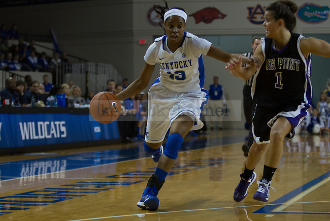 Sophomore guard,  Bria Gross (left), and junior guard, Tayler Tremblay, during the first half of the UK vs. High Point basketball game at Memorial Coliseum on Saturday, Nov. 17, 2012. Photo by Adam Chaffins | Staff