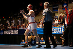 LA CROSSE, WI - MARCH 11: Riley Lefever of Wabash celebrates after beating Carlos Toribio of Ithaca in the 197 weight class during NCAA Division III Men's Wrestling Championship held at the La Crosse Center on March 11, 2017 in La Crosse, Wisconsin. Lefever beat Toribio by fall to win the national Championship.  (Photo by Carlos Gonzalez/NCAA Photos via Getty Images)