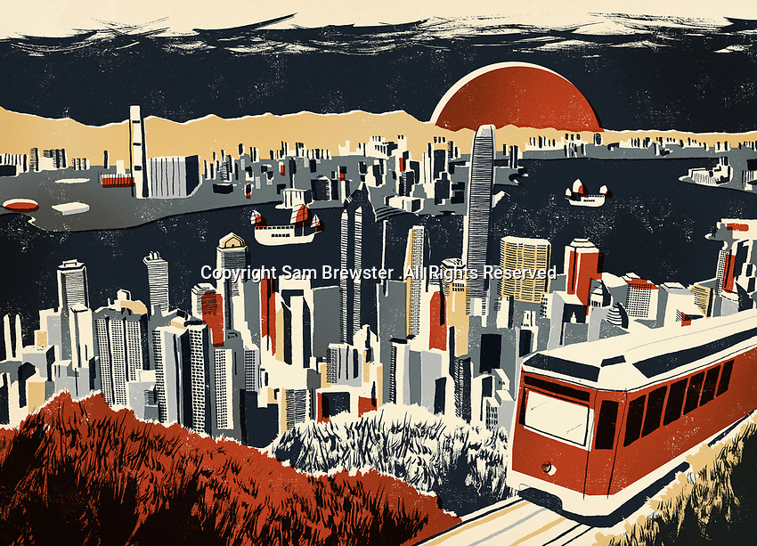 Illustration of Victoria Harbour and skyscrapers in Hong Kong