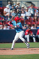 Spokane Indians right fielder Starling Joseph (39) at bat during a Northwest League game against the Vancouver Canadians at Avista Stadium on September 2, 2018 in Spokane, Washington. The Spokane Indians defeated the Vancouver Canadians by a score of 3-1. (Zachary Lucy/Four Seam Images)