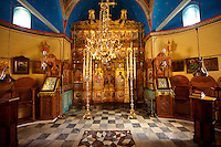 Interior of the Greek Orthodox Monastery of the Profitis Ilias, Hydra, Greek Saronic Islands.