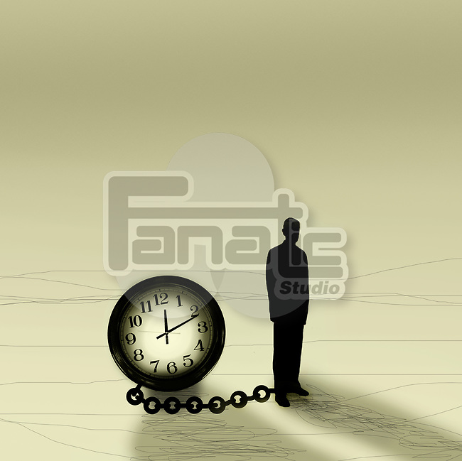 Concept of a man chained to a large clock depicting prisoner of time