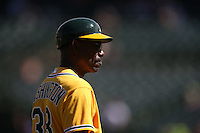 OAKLAND, CA - SEPTEMBER 24:  Third base coach Ron Washington #38 of the Oakland Athletics works during the game against the Texas Rangers at O.co Coliseum on Thursday, September 24, 2015 in Oakland, California. Photo by Brad Mangin
