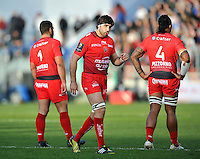 Juan Martin Fernandez Lobbe of Toulon speaks to his team-mates. European Rugby Champions Cup match, between RC Toulon and Bath Rugby on January 10, 2016 at the Stade Mayol in Toulon, France. Photo by: Patrick Khachfe / Onside Images