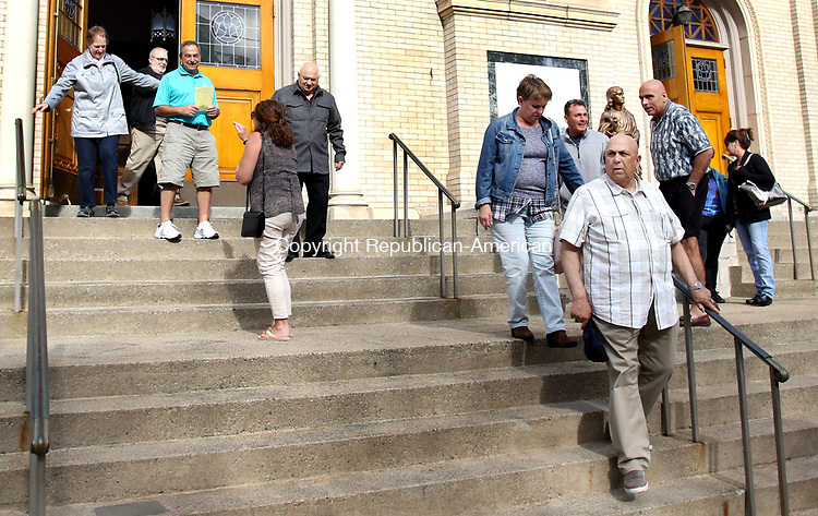 WATERBURY CT. 06 May 2017-050617SV16-Parishioners leave 4 o&rsquo;clock mass at Our Lady Lourdes Church in Waterbury Saturday.<br /> Steven Valenti Republican-American