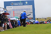 Rain dampens the spirits at the 18th green during Saturday's Round 3 of the Dubai Duty Free Irish Open 2019, held at Lahinch Golf Club, Lahinch, Ireland. 6th July 2019.<br /> Picture: Eoin Clarke | Golffile<br /> <br /> <br /> All photos usage must carry mandatory copyright credit (© Golffile | Eoin Clarke)