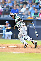 Augusta GreenJackets right fielder Sandro Fabian (6) runs to first base during a game against the Asheville Tourists at McCormick Field on July 15, 2017 in Asheville, North Carolina. The Tourists defeated the GreenJackets 2-1. (Tony Farlow/Four Seam Images)