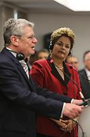 SAO PAULO, SP, 13 DE MAIO 2013 - DECLARAÇÃO A IMPRENSA BRASIL - ALEMANHA - A presidente da República Dilma Rousseff e o presidente da Alemanha Joachim Gauck durante declaração a imprensa após encontro bilateral Brasil-Alemanha no Hotel Sheraton WTC na região sul da capital paulista, nesta segunda-feira, 13. (FOTO: WILLIAM VOLCOV / BRAZIL PHOTO PRESS).