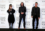 """(L-R) Singer Kyary Pamyu Pamyu, actor Keanu Reeves and director Chad Stahelski attend a stage greeting for the movie """"John Wick: Chapter 3 - Parabellum"""" in Tokyo, Japan, September 10, 2019. The movie will be released in Japan on October 4. JIJI PRESS PHOTO / MORIO TAGA"""
