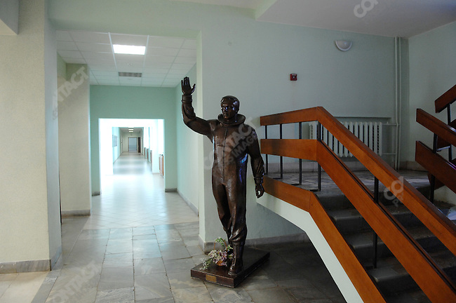 At one of the training centres at Star City, the Russian space training centre outside of Moscow, a statue of the first man in space Yuri Gagarin, stood in prominence. Star City, Russia, June 24, 2008.