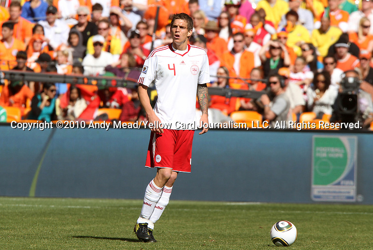 14 JUN 2010: Daniel Agger (DEN). The Netherlands National Team defeated the Denmark National Team 2-0 at Soccer City Stadium in Johannesburg, South Africa in a 2010 FIFA World Cup Group E match.