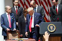 United States President Donald J. Trump leaves the podium to sign H.R. 7010 - PPP Flexibility Act of 2020 in the Rose Garden of the White House in Washington on June 5, 2020. Pictured behind the president, from left to right: Director of the National Economic Council Larry Kudlow; Tyler Goodspeed, member of Council of Economic Advisers; Jovita Carranza, administrator, US Small Business Administration (SBA); US Secretary of Labor Eugene Scalia; and US Secretary of the Treasury Steven T. Mnuchin.<br /> Credit: Yuri Gripas / Pool via CNP/AdMedia