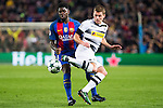 VfL Borussia Monchengladbach's Thorgan Hazard, FC Barcelona's Samuel Umiti  during Champions League match between Futbol Club Barcelona and VfL Borussia Mönchengladbach  at Camp Nou Stadium in Barcelona , Spain. December 06, 2016. (ALTERPHOTOS/Rodrigo Jimenez)