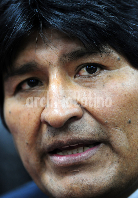 Evo Morales, Bolivia's president, speaks during a news conference following the Fifth Summit of Latin America, the Caribbean and the European Union in    Lima,