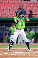 Kane County Cougars left fielder Jorge Perez (16) during a Midwest League game against the Cedar Rapids Kernels at Northwestern Medicine Field on April 28, 2019 in Geneva, Illinois. Cedar Rapids defeated Kane County 3-2 in game two of a doubleheader. (Zachary Lucy/Four Seam Images)