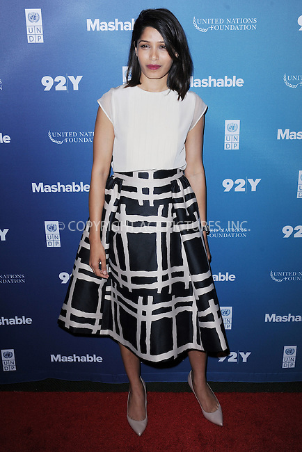 WWW.ACEPIXS.COM<br /> September 28, 2015 New York City<br /> <br /> Freida Pinto attends the 2015 Social Good Summit at 92Y on September 28, 2015 in New York City.<br /> <br /> Credit: Kristin Callahan/ACE Pictures<br /> <br /> Tel: (646) 769 0430<br /> e-mail: info@acepixs.com<br /> web: http://www.acepixs.com
