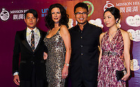 HAIKOU, CHINA - OCTOBER 29:  (L-R) Hong Kong actor Aaron Kwok, Hollywood actress Catherine Zeta-Jones, Vice Chairman of Mission Hills Group Dr. Ken Chu and his wife Audrey Chu attend red carpet during day three of the Mission Hills Start Trophy tournament at Mission Hills Resort on October 29, 2010 in Haikou, China. Photo by Victor Fraile / studioEAST