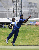 6th December 2017, Eden Park, Auckland, New Zealand; Ford Trophy One Day Cricket, Auckland Aces versus Canterbury Wizards;  Tarun Nethula takes a catch on the boundary to dismiss Fletcher