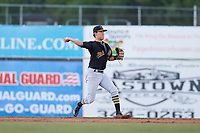 West Virginia Black Bears second baseman Tristan Gray (2) throws to first base during a game against the Batavia Muckdogs on June 26, 2017 at Dwyer Stadium in Batavia, New York.  Batavia defeated West Virginia 1-0 in ten innings.  (Mike Janes/Four Seam Images)