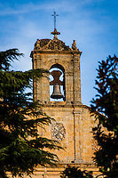 Salamanca (Wednesday, October 24, 2012) Convent of San Esteban bell tower. The church facade, complete with it's 'dustcover' and fine ornamentation that seems to turn to gold when touched by sunlight, constitutes one of the most complete illustrations of Spanish Renaissance. The beautiful convent cloister combines a Gothic design with Renaissance decorative elements, as is the case with buildings erected throughout the 16th century. Salamanca is a city in northwestern Spain, the capital of the Province of Salamanca in the community of Castile and León. Its Old City was declared a UNESCO World Heritage Site in 1988. With a metropolitan population around 192,000 it is the second most populated urban area in Castile and León, after Valladolid (369,000), and closely followed by Leon (187,000) and Burgos (176,000)...It is the most important university city in Spain and supplies 16% of Spain's market for the teaching of the Spanish language.[1][2] Salamanca attracts thousands of international students,[3] generating a diverse environment...It is situated approximately 200 km (120 mi) west of the Spanish capital Madrid and 80 km (50 mi) east of the Portuguese border. The University of Salamanca, which was founded in 1218, is the oldest university in Spain and the third oldest western university, but the first to be given its status by a Pope (Alexander IV).Photo: joliphotos.com