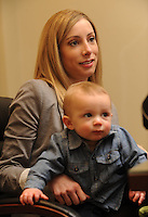 NWA Democrat-Gazette/ANDY SHUPE<br /> Katy Garner holds her son, Jack, Thursday, Feb. 4, 2016, at Garner's office in Fayetteville. Garner, her mother, Lynn Carver, and Garner's mother-in-law, Denise Garner, volunteer to help organize the annual Soup Sunday which benefits Arkansas Advocates for Children and Families.