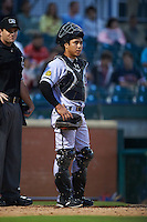 Jacksonville Suns catcher Sharif Othman (6) during a game against the Chattanooga Lookouts on April 30, 2015 at AT&T Field in Chattanooga, Tennessee.  Jacksonville defeated Chattanooga 6-4.  (Mike Janes/Four Seam Images)