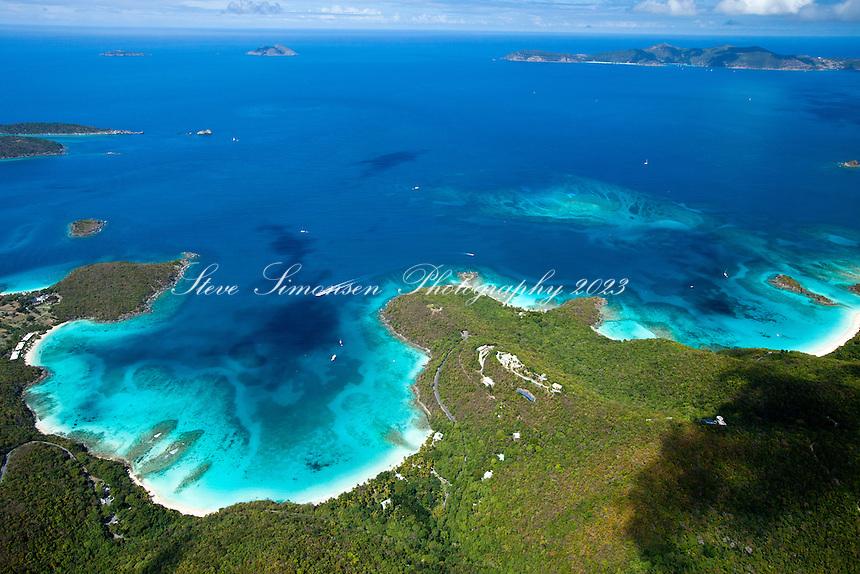 Aerial view of Hawksnest Bay and Trunk Bay<br /> Virgin Islands National Park.<br /> St. John.U.S. Virgin Islands