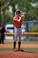 Baltimore Orioles pitcher Jake Zebron (12) during a Minor League Extended Spring Training game against the Tampa Bay Rays on April 17, 2019 at Charlotte County Sports Complex in Port Charlotte, Florida.  (Mike Janes/Four Seam Images)