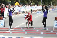 SAO PAULO, SP, 17.05.2015 - MARATONA-SP - Heitor Mariano terceiro colocado da prova de cadeirantes da XXI Maratona Internacional de São Paulo, na manhã deste domingo dia 17, com largada iniciada no Obelisco do Parque do Ibirapuera. (Foto Amauri Nehn/Brazil Photo Press)