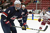 Max Gildon (NTDP - 8) - The Harvard University Crimson defeated the US National Team Development Program's Under-18 team 5-2 on Saturday, October 8, 2016, at the Bright-Landry Hockey Center in Boston, Massachusetts.