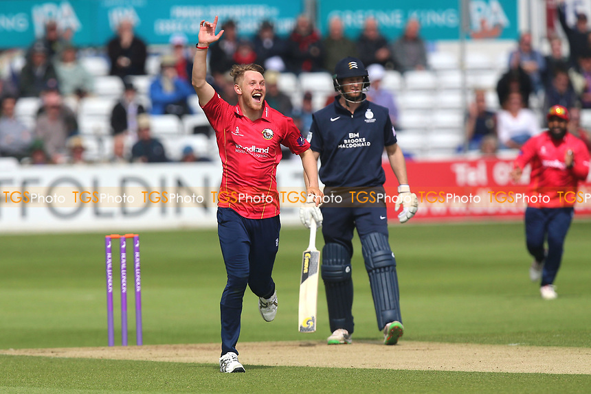 Jamie Porter of Essex claims the wicket of Dawid Malan during Essex Eagles vs Middlesex, Royal London One-Day Cup Cricket at The Cloudfm County Ground on 12th May 2017