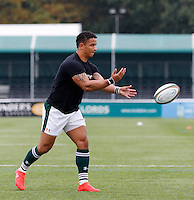 Ealing's Curtis Wilson seen warming up during the Greene King IPA Championship match between Ealing Trailfinders and Bedford Blues at Castle Bar , West Ealing , England  on 29 October 2016. Photo by Carlton Myrie / PRiME Media