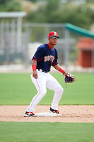 GCL Red Sox second baseman Santiago Espinal (43) waits for a throw during the first game of a doubleheader against the GCL Rays on August 9, 2016 at JetBlue Park in Fort Myers, Florida.  GCL Rays defeated GCL Red Sox 5-4.  (Mike Janes/Four Seam Images)