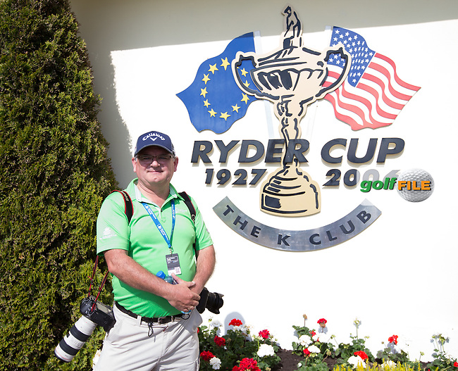 Thos Caffrey in front of the Ryder Cup logo on the clubhouse during Monday's practice round ahead of the 2016 Dubai Duty Free Irish Open Hosted by The Rory Foundation which is played at the K Club Golf Resort, Straffan, Co. Kildare, Ireland. 16/05/2016. Picture Golffile | David Lloyd.<br /> <br /> All photo usage must display a mandatory copyright credit as: &copy; Golffile | David Lloyd.