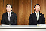 Panasonic president Kazuhiro Tsuga (R) and executive director Hideaki Kawai (L) attend a news conference at the company's headquarters on March 31, 2016, in Tokyo, Japan. Panasonic announced that it expects sales of 8.8 trillion yen ($78.28 billion) for the 2018 fiscal year, 12 percent less that its previous forecast target of 10 trillion yen because of an uncertain global economy. (Photo by Rodrigo Reyes Marin/AFLO)