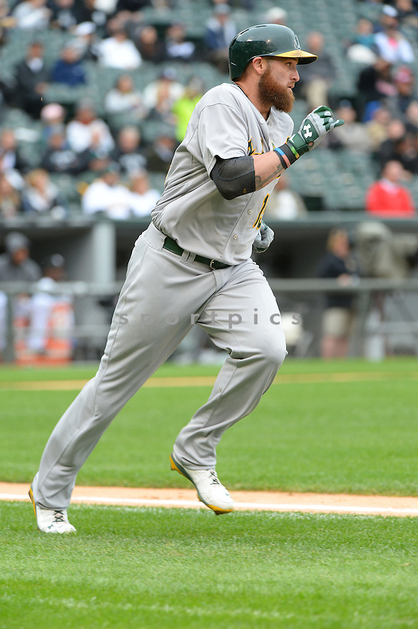 Oakland A's Jonny Gomes (15) during a game against the Chicago White Sox on September 11, 2014 at US Cellular Field in Chicago, IL. The Sox beat the A's 1-0.