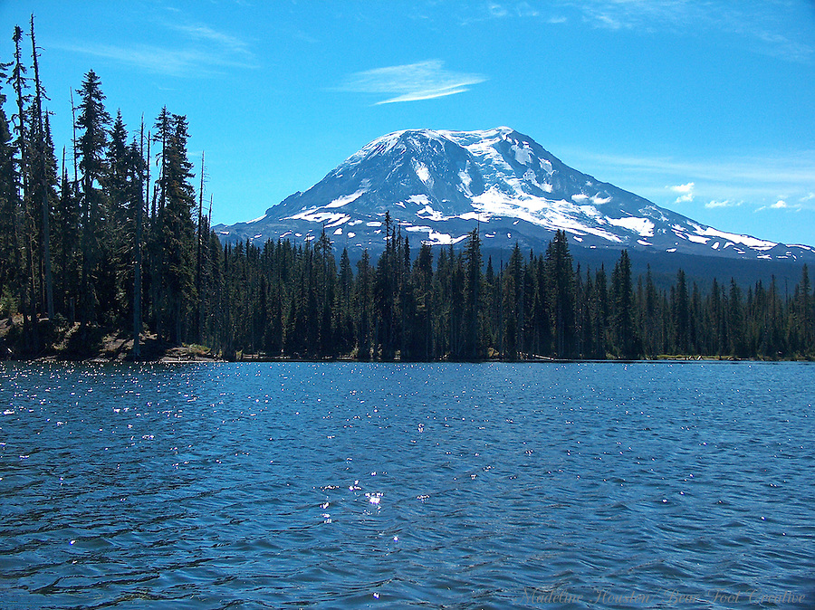 Mount Adams and Horseshoe Lake, Gifford Pinchot National Forest, near Randle, Washington, USA