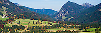 View from Oberjoch pass of autumn countryside and mountains of the German - Austrian border and Vils river valley