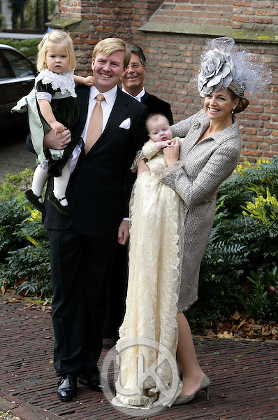 Crown Prince Willem-Alexander, Crown Princess Maxima & Princess Catharina-Amalia attend the Christening of Princess Alexia of the Netherlands at the Dorpskerk in Wassenaar..