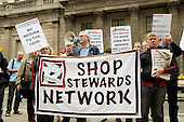 Kevin Parslow, Waltham Forest UNITE Branch Secretary, speaks at a National Shop Stewards Network demonstration outside the Bank of England.