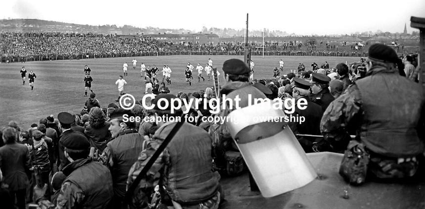 New Zealand All Blacks meet Ulster at Ravenhill, Belfast, N Ireland, 18th November 1972. The All Blacks won 16-9. The game was played at the height of The Troubles in N Ireland and security was very much in evidence. There&rsquo;s a strong security presence with police and solders mingling with spectators. 197211180739b<br />