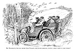 Mr Mozambique, who has rented Lord Nokash's well-known shooting, drives a select party to the coverts! (an early motoring cartoon of a shooting party arriving by car)