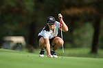 Siyun Liu of the Wake Forest Demon Deacons lines up her ball on the eighth green during second round action at the Ruth's Chris Tar Heel Invitational on October 14, 2017 in Chapel Hill, North Carolina. (Brian Westerholt/Sports On Film)