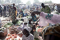 SEGOU, MALI - FEBRUARY 24: Women sell fruit and vegetables at a weekly market on February 24 2011, outside Segou, Mali. Photo by Per-Anders Pettersson
