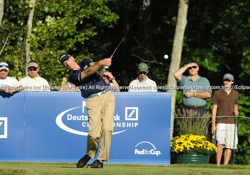 31 August 2008: Jim Furyk hits a tee shot at the Deutsche Bank Golf Championship in Norton, Massachusetts.