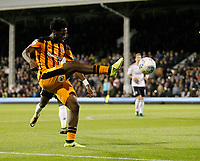 Ola Aina of Hull City (on loan from Chelsea) knocks in a cross during the Sky Bet Championship match between Fulham and Hull City at Craven Cottage, London, England on 13 September 2017. Photo by Carlton Myrie.