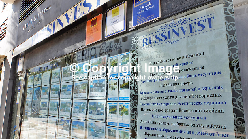 Signage in Russian on the Costa del Sol, Spain, shows its popularity with Russian ex-pats &amp; tourists. Estate agency, Puerto Banus, February, 2015, 201502060412<br /> <br /> Copyright Image from Victor Patterson, 54 Dorchester Park, Belfast, UK, BT9 6RJ<br /> <br /> t: +44 28 9066 1296<br /> m: +44 7802 353836<br /> vm +44 20 8816 7153<br /> <br /> e1: victorpatterson@me.com<br /> e2: victorpatterson@gmail.com<br /> <br /> www.victorpatterson.com<br /> <br /> IMPORTANT: Please see my Terms and Conditions of Use at www.victorpatterson.com