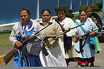 Mexico (27/09/2004): Native Mazahua women stand in front of the entrance of Sistema Cutzamala, a water plant located in Villa Allende in the western state of Mexico State which delivers the water to Mexico City. The Native Mazahua women are struggling with the Zapatista Women for the Defense of Water and demanding the government to pay a compensation to the Mazahuas...© Heriberto Rodriguez/ WorldPictureNews..NO ARCHIVO-NO ARCHIVE-ARCHIVIERUNG VERBOTEN!