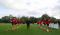 Pictured: Wales players warm up. Monday 02 October 2017<br />Re: Wales football training, ahead of their FIFA Word Cup 2018 qualifier against Georgia, Vale Resort, near Cardiff, Wales, UK.