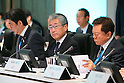 (L-R)  Shinzo Abe, Tsunekazu Takeda, Naoki Inose, MARCH 4, 2013 : General view before presentations of Tokyo 2020 bid Committee at Palace Hotel, Tokyo, Japan. (Photo by AFLO SPORT)